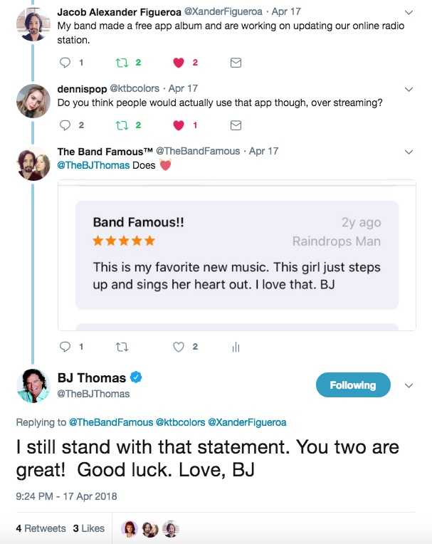 BJ Thomas still stands by his comment of The Band Famous being his favorite new music.